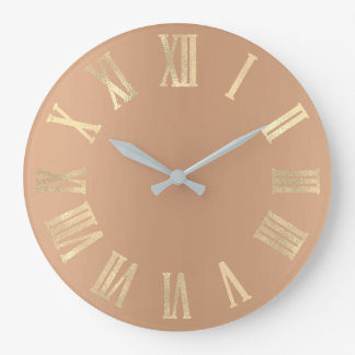 Peach Skinny Gold Minimal Metallic Roman Numers Large Clock
