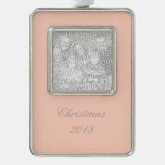 Peach Solid Color Silver Plated Framed Ornament