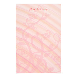 Peach Spirals, Filigree and Flowers Personalized Stationery