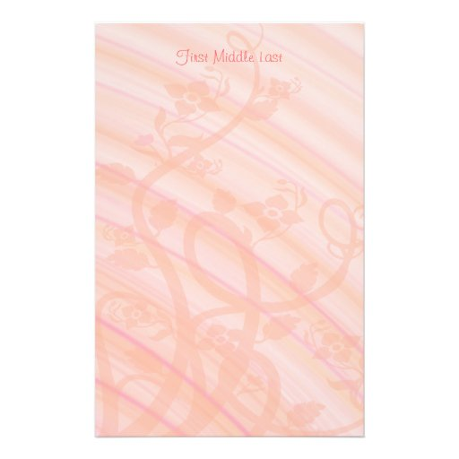 Peach Spirals, Filigree and Flowers Customized Stationery