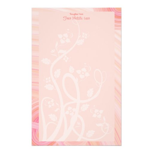 Peach Spirals, Filigree and Flowers Stationery Design