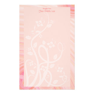 Peach Spirals, Filigree and Flowers Stationery Design
