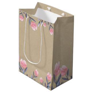 Peach Spring Watercolor Tulips Bridal Shower Party Medium Gift Bag