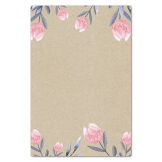 Peach Spring Watercolor Tulips Bridal Shower Party Tissue Paper