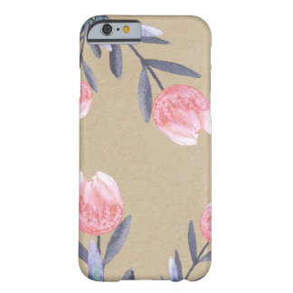 Peach Spring Watercolor Tulips Rustic Kraft Chic Barely There iPhone 6 Case