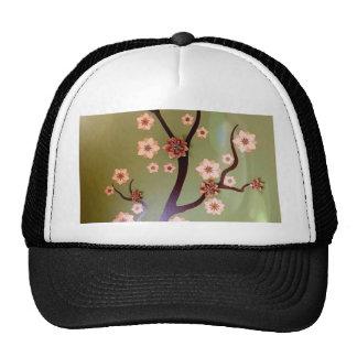 Peach stencil blossoms on twigs cap