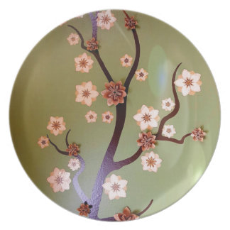 Peach stencil blossoms on twigs dinner plates