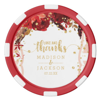 Peach Stripes Floral Gold Confetti Wedding Favor Poker Chips
