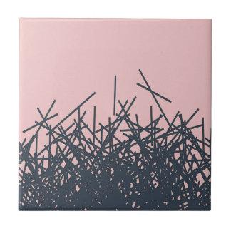 Peach Stylish Trendy Dark Modern Abstract Line Art Ceramic Tile