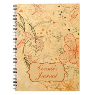 Peach Tangerine Flowers Swirls Customized Notebook