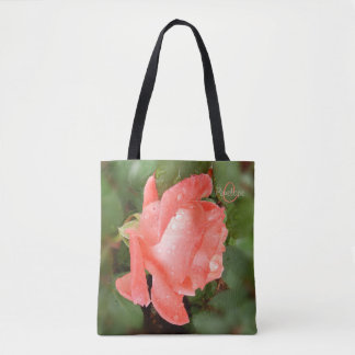 Peach Tea Rose Monogram All Over Print Totebag Tote Bag