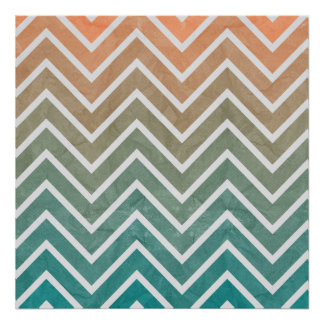 Peach Teal Chevron Pattern Poster