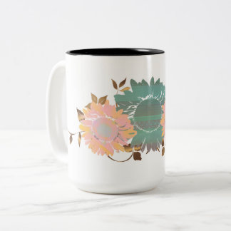 Peach Teal Pastel and Copper Sunflower Vine Two-Tone Coffee Mug