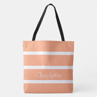Peach Toast and White Stripes Personalized Tote Bag