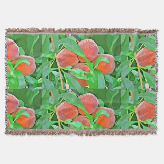 Peach Tree in Cartoon Throw Blanket