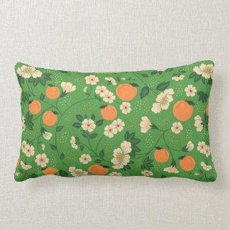 Peach Tree on Green Background Throw Pillow