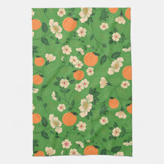 Peach Tree on Green Background Kitchen Towels