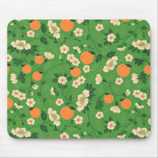 Peach Tree on Green Background Mouse Pad
