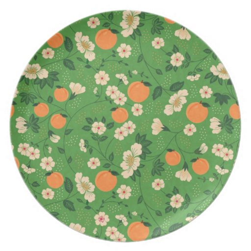 Peach Tree on Green Background Dinner Plate