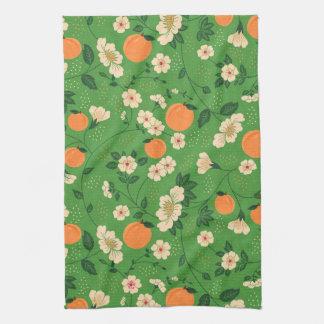 Peach Tree on Green Background Tea Towel