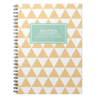 Peach Triangle Pattern Mint Name Template Notebooks