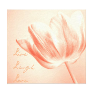 Peach Tulip Live, Laugh, Love Canvas Print