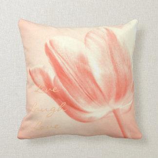 Peach Tulip Live, Laugh, Love Throw Pillow