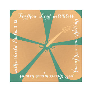 Peach / Turquoise Hibiscus Canvas Bible Verse Canvas Print