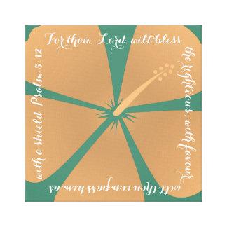 Peach / Turquoise Hibiscus Canvas Bible Verse Canvas Prints