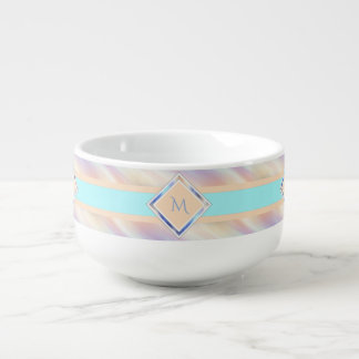 Peach Turquoise Pastel With Initials Soup Bowl With Handle
