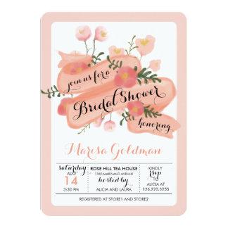 Peach Vintage Floral Banner Bridal Shower Card