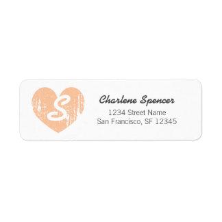 Peach vintage heart monogram Return Address Labels