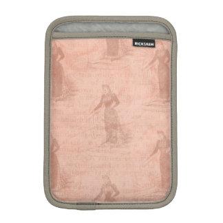Peach Vintage Ladies Pattern iPad Mini Sleeve