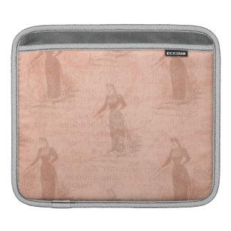 Peach Vintage Ladies Pattern iPad Sleeves