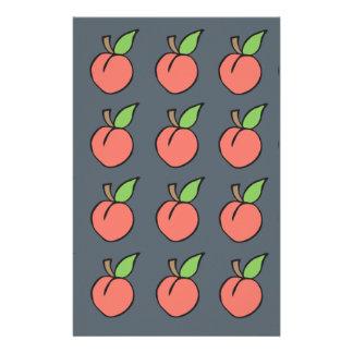 Peach w/ green leaf Pattern Stationery Design