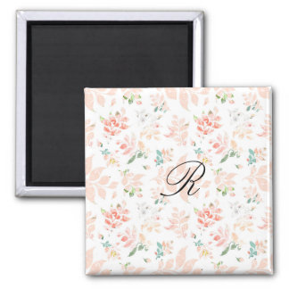 Peach Watercolor Botanical Floral Monogrammed Magnet