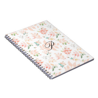Peach Watercolor Botanical Floral Monogrammed Notebooks