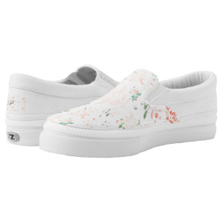 Peach Watercolor Botanical Floral Personalized Slip On Shoes