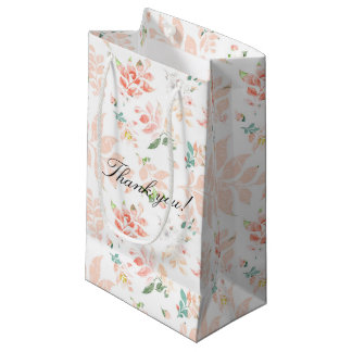 Peach Watercolor Botanical Floral Thank You Small Gift Bag