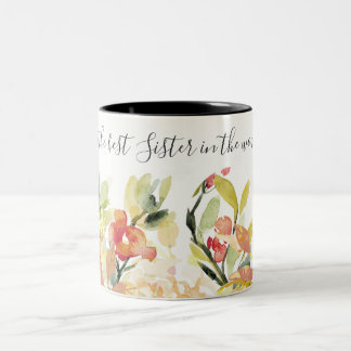 PEACH WATERCOLOR FLORAL BEST SISTER IN THE WORLD Two-Tone COFFEE MUG