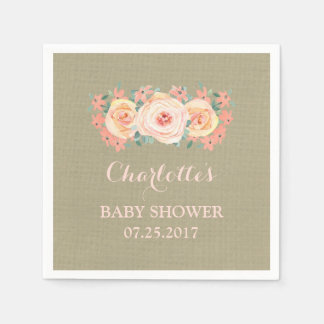 Peach Watercolor Floral Burlap Baby Shower Paper Serviettes