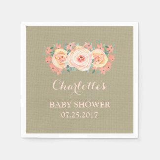 Peach Watercolor Floral Burlap Baby Shower Paper Serviettes