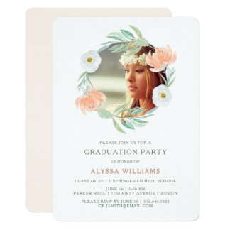 Peach Watercolor Floral | Graduation Party Photo Card