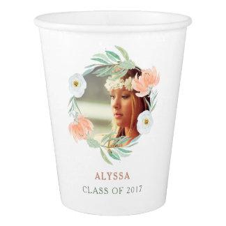 Peach Watercolor Floral | Graduation Party Photo Paper Cup