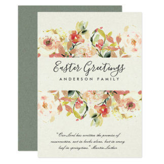 PEACH WATERCOLOR FLORAL HAPPY EASTER GREETINGS CARD