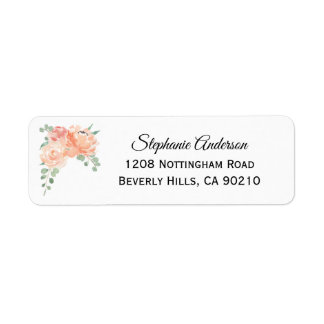 Peach Watercolor Floral Medley Return Address Label