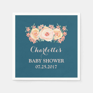 Peach Watercolor Floral Navy Blue Baby Shower Paper Napkins