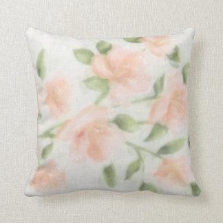 Peach Watercolor Floral Print Cushion