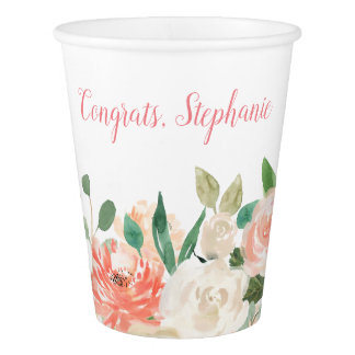 Peach Watercolor Floral With Your Text Paper Cup