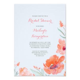 Peach Watercolor Florals Cute Bridal Shower 13 Cm X 18 Cm Invitation Card